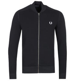 Fred Perry Waffle Textured Zip-Through Black Cardigan