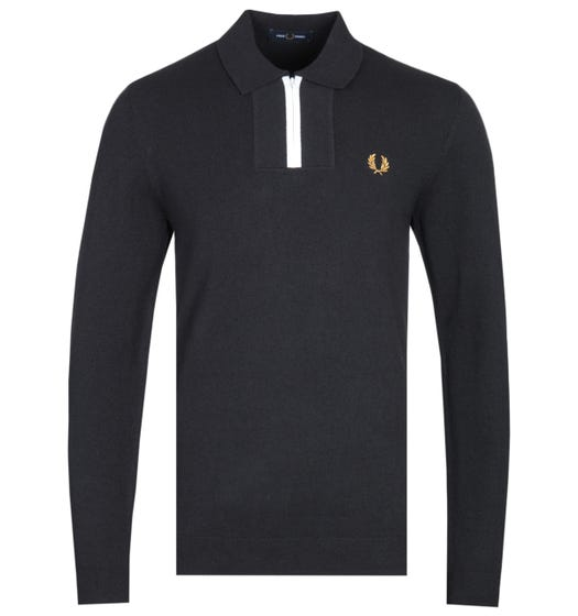 Fred Perry Long Sleeve Zip Neck Black Knitted Shirt