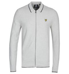 Lyle & Scott Tipped Knitted Light Grey Marl Polo Cardigan