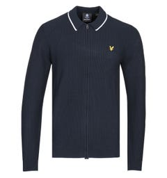 Lyle & Scott Tipped Knitted Navy Polo Cardigan