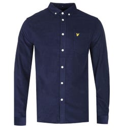 Lyle & Scott Needle Cord Navy Button-Down Shirt