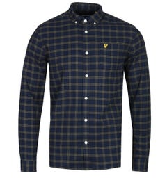 Lyle & Scott Navy Checked Long Sleeve Flannel Shirt