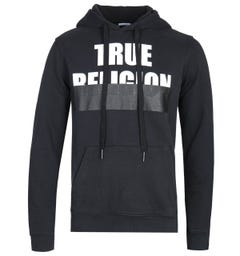 True Religion Embossed Logo Black Pullover Hoodie