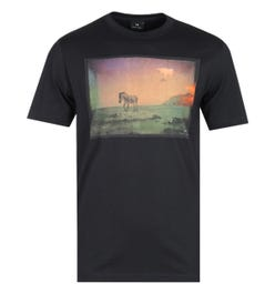 PS Paul Smith Regular Fit UFO Zebra Print Black T-Shirt