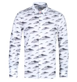 PS Paul Smith Tailored Fit Long Sleeve White UFO Shirt