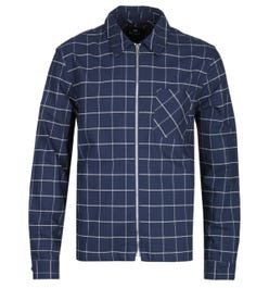 PS Paul Smith Navy Check Zip-Through Overshirt