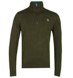 PS Paul Smith Military Green Zip Neck Sweater