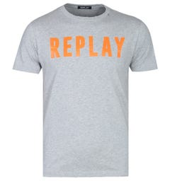 Replay Contrast Typography Grey Marl Logo T-Shirt