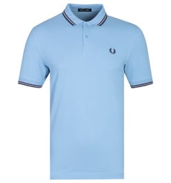 Fred Perry M3600 Tipped Sky Blue Polo Shirt