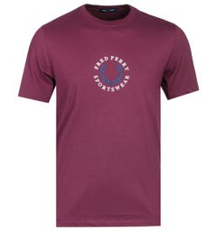 Fred Perry Embroidered Logo Mahogany T-Shirt
