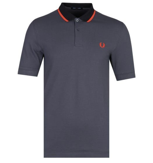 Fred Perry Contrast Tipped Charcoal Polo Shirt