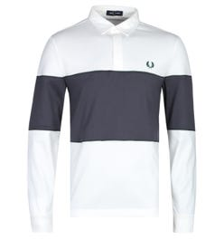 Fred Perry Long Sleeve Panelled White & Black Polo Shirt