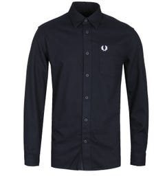 Fred Perry Brushed Cotton Long Sleeve Black Shirt