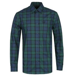 Fred Perry Button-Through Green Tartan Shirt