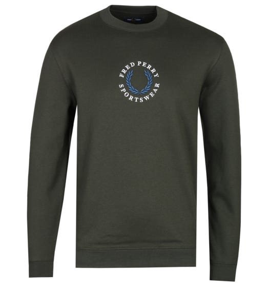 Fred Perry Embroidered Logo Hunting Green Sweatshirt
