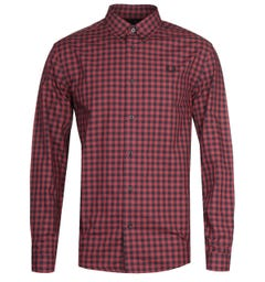 Fred Perry Long Sleeve Red Checked Gingham Shirt