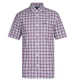 Fred Perry Small Check Light Blue & Burgundy Gingham Shirt