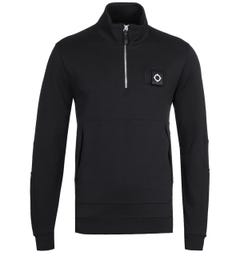 MA.Strum Jet Black Zip Neck Training Sweatshirt