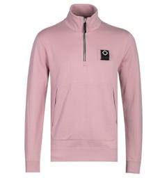 MA.Strum Dusty Pink Zip Neck Training Sweatshirt