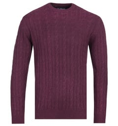 Barbour Cable Knit Merlot Red Sanda Sweater
