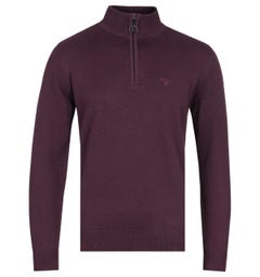 Barbour Merlot Red Zip Neck Cotton Sweater