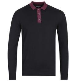 Barbour Alness Contrast Collar Long Sleeve Black Knitted Polo Shirt
