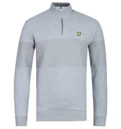 Lyle & Scott Contrast Grey Marl Funnel Zip Neck Sweatshirt