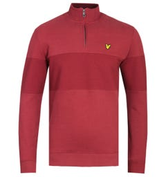 Lyle & Scott Contrast Brick Red Funnel Zip Neck Sweatshirt
