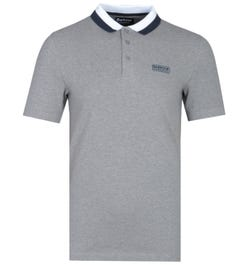 Barbour International Ampere Contrast Collar Grey Polo Shirt