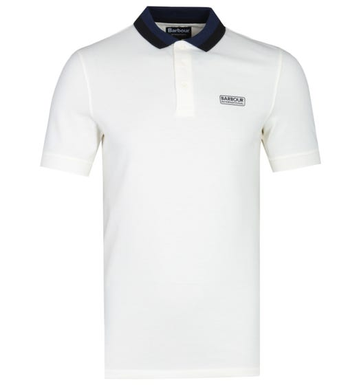 Barbour International Ampere Contrast Collar White Polo Shirt