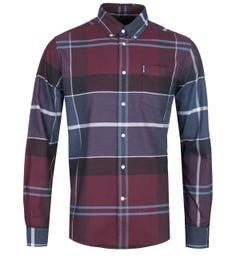 Barbour Connell Large Check Tailored Fit Merlot Red Shirt