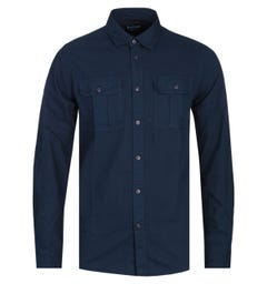 Barbour International Tailored Fit Navy Manifold Shirt