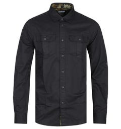 Barbour International Tailored Fit Black & Camo Carving Shirt