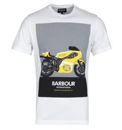 Barbour International Posterise Motorbike Print Tailored Fit White T-Shirt
