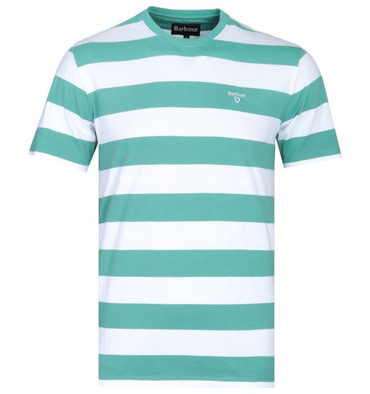 Barbour Tailored Fit Green Beach Stripe T-Shirt