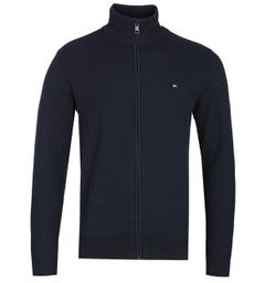 Tommy Hilfiger Navy Zip-Through Structured Knit Sweater