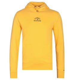 Tommy Hilfiger Embroidered Logo Yellow Pullover Hoodie