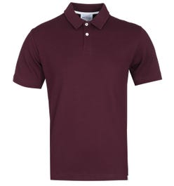 Norse Projects Ruben Relaxed Fit Burgundy Textured Polo Shirt