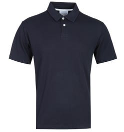 Norse Projects Ruben Relaxed Fit Dark Navy Textured Polo Shirt