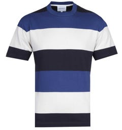 Norse Projects Johannes Border Stripe Off White, Black & Blue T-Shirt