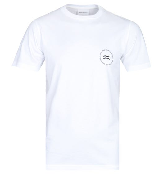 Norse Projects Niels White Wave Logo T-Shirt