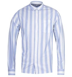 Norse Projects Anton Regular Fit Blue & White Block Stripe Oxford Shirt
