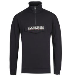Napapijri Base Quarter-Zip Black Sweatshirt