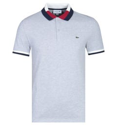 Lacoste Slim Fit Contrast Tipped Grey Polo Shirt