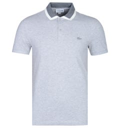 Lacoste Slim Fit Tipped Collar Grey Marl Polo Shirt