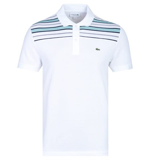 Lacoste Regular Fit Cut & Sew Striped White Polo Shirt