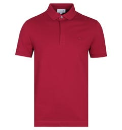 Lacoste Burgundy Paris Edition Short Sleeve Polo Shirt