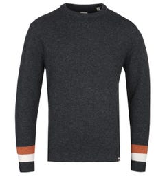 Pretty Green Mcara Crew Neck Charcoal Knitted Sweater