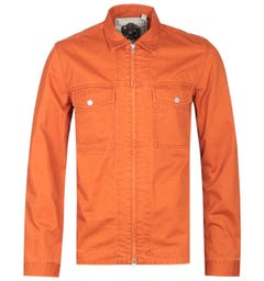 Pretty Green Zip Front Orange Overshirt