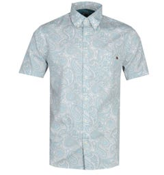 Pretty Green Slim Fit Linear Paisley Light Blue Shirt